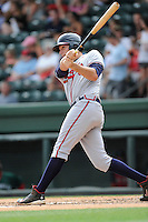 First baseman Matt Tellor (43) of the Rome Braves bats in a game against the Greenville Drive on Sunday, June 14, 2015, at Fluor Field at the West End in Greenville, South Carolina. Rome won, 5-2. (Tom Priddy/Four Seam Images)