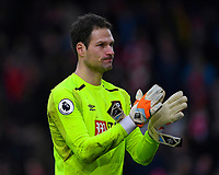 Asmir Begovic of AFC Bournemouth during AFC Bournemouth vs Arsenal, Premier League Football at the Vitality Stadium on 14th January 2018