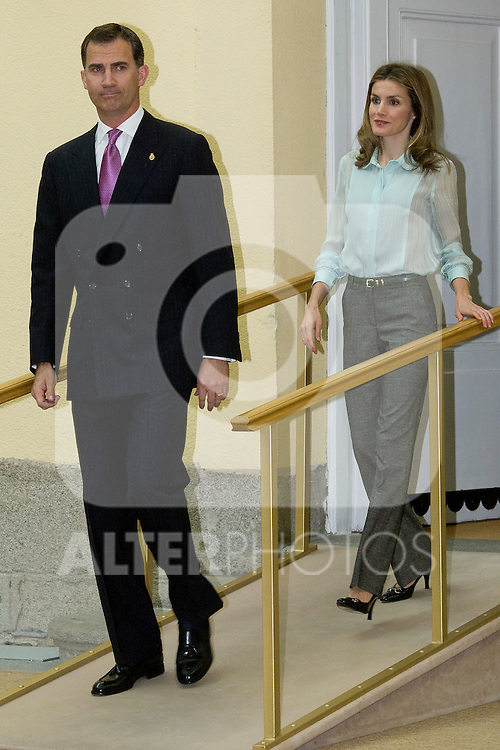 13.06.2012. Prince Felipe of Spain and Princess Letizia of Spain attens Annual Meeting with Members of the Prince of Asturias Foundation at the Royal Palace of El Pardo in Madrid. In the image Prince Felipe and Princess Letizia (Alterphotos/Marta Gonzalez)