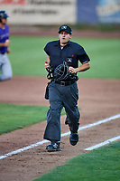 Umpire John Perez handles the calls during a game between the Ogden Raptors and the Grand Junction Rockies at Lindquist Field on September 7, 2018 in Ogden, Utah. The Rockies defeated the Raptors 8-5. (Stephen Smith/Four Seam Images)