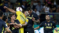 Calcio, Serie A: Frosinone-Juventus, Benito Stirpe stadium, Frosinone, September 23, 2018. <br /> Juventus' Mario Mandzukic (second from right) in action with Frosinone's Cristian Molinaro (third from left) during the Italian Serie A football match between Frosinone and Juventus at Frosinone stadium on September 23, 2018.<br /> UPDATE IMAGES PRESS/Isabella Bonotto