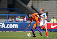 Javairo Dilrosun (Manchester City) of Holland holds off Tom Davies (Everton) of England U19 during the International match between England U19 and Netherlands U19 at New Bucks Head, Telford, England on 1 September 2016. Photo by Andy Rowland.