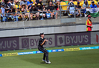 Matt Henry catches Shikar Dhawan during the One Day International cricket match between NZ Black Caps and India at Westpac Stadium in Wellington, New Zealand on Sunday, 3 February 2019. Photo: Dave Lintott / lintottphoto.co.nz