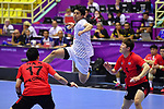 Yuto Agarie (JPN), <br /> AUGUST 17, 2018 - Handball : Men's Preliminary Round match between <br /> Korea 26-26 Japan at GOR Popki Cibubur during the 2018 Jakarta Palembang Asian Games in Jakarta, Indonesia. <br /> (Photo by MATSUO.K/AFLO SPORT)