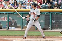 Joe Panik (2) of the Fresno Grizzlies  at bat against the Salt Lake Bees at Smith's Ballpark on May 25, 2014 in Salt Lake City, Utah.  (Stephen Smith/Four Seam Images)