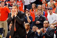Virginia head coach Tony Bennett calls a play during the game against North Carolina at the John Paul Jones arena in Charlottesville, Va. Virginia defeated North Carolina 61-52.