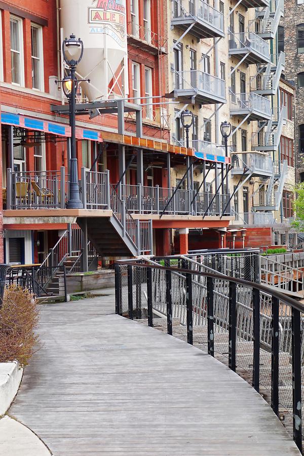 The Milwaukee Riverwalk winds through Historic Third Ward, Milwaukee, Wisconsin, USA