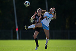 Becca Rolfe (10) of the High Point Panthers battles for the ball with Morgan Goff (14) of the North Carolina Tar Heels during first half action at Koka Booth Stadium on November 11, 2017 in Cary, North Carolina.  The Tar Heels defeated the Panthers 3-0.   (Brian Westerholt/Sports On Film)