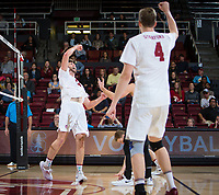 STANFORD, CA - January 17, 2019: Kyler Presho, Eric Beatty at Maples Pavilion. The Stanford Cardinal defeated UC Irvine 27-25, 17-25, 25-22, and 27-25.