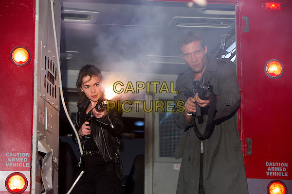 Emilia Clarke &amp; Jai Courtney<br /> in Terminator Genisys (2015) <br /> *Filmstill - Editorial Use Only*<br /> CAP/FB<br /> Image supplied by Capital Pictures