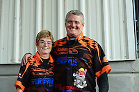 Sept. 30, 2012; Madison, IL, USA: NHRA funny car driver Dale Creasy Jr with his mother during the Midwest Nationals at Gateway Motorsports Park. Mandatory Credit: Mark J. Rebilas-