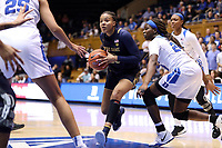 DURHAM, NC - JANUARY 16: Katlyn Gilbert #10 of Notre Dame University drives the lane during a game between Notre Dame and Duke at Cameron Indoor Stadium on January 16, 2020 in Durham, North Carolina.