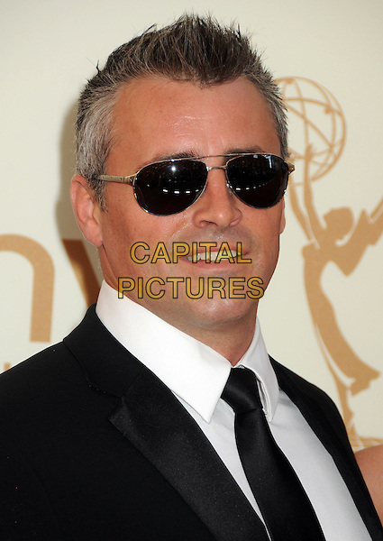 Matt LeBlanc.63rd Primetime Emmy Awards held at Nokia Theatre L.A. Live. Los Angeles, California, USA. .18th September 2011.emmys headshot portrait tie black suit white shirt sunglasses shades .CAP/ADM/BP.©Byron Purvis/AdMedia/Capital Pictures.