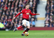 9th February 2019, Craven Cottage, London, England; EPL Premier League football, Fulham versus Manchester United; Diogo Dalot of Manchester United passing the ball into midfield