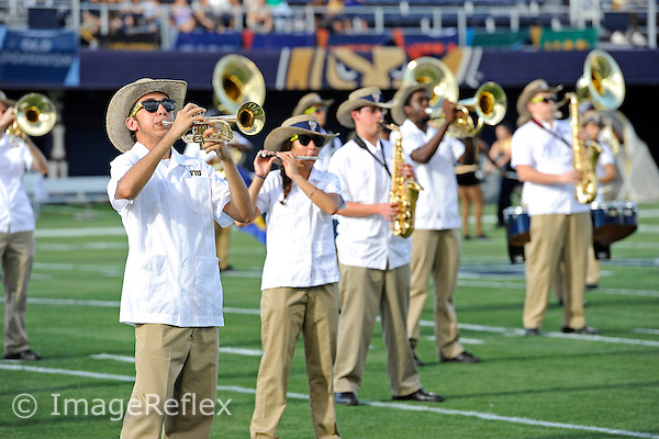 14 September 2013:  FIU's band performs prior to the game as the Bethune-Cookman Wildcats defeated the FIU Golden Panthers, 34-13, at FIU Stadium in Miami, Florida.