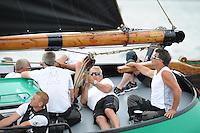 ZEILEN: FRYSLÂN: 2014, SKS skûtsjesilen, skûtsje De Sneker Pan, Sneek, schipper Douwe Jzn. Visser, ©foto Martin de Jong