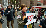 "Denise deGabriele and other members of First United Methodist Church of Seattle were among hundreds of Seattle residents who marched from Westlake Center Park to the Seattle Center on January 13, 2013, calling for stricter regulations of firearms. Behind deGabriele is the Rev. Sandy Brown, the church's pastor. Sponsored by a network of churches and other groups called ""Stand-up Washington,"" the demonstrators called for a state ban on semi-automatic weapons as well as stricter gun laws."