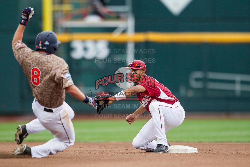 Arkansas Razorbacks shortstop Michael Bernal (3) prepares to tag Virginia Cavaliers baserunner Robbie Coman (8) at second base in Game 1 of the NCAA College World Series on June 13, 2015 at TD Ameritrade Park in Omaha, Nebraska. Virginia defeated Arkansas 5-3. (Andrew Woolley/Four Seam Images)
