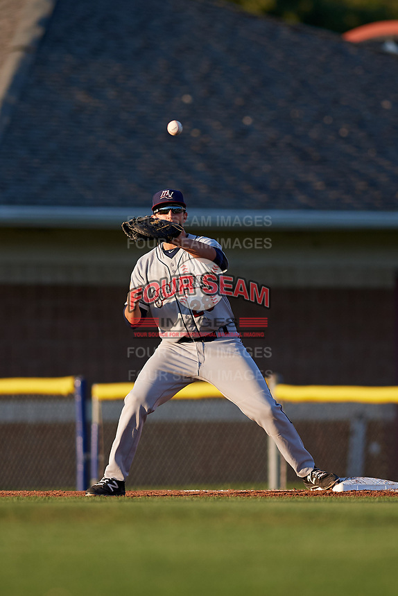 Mahoning Valley Scrappers first baseman Simeon Lucas (28) waits to receive a throw during a game against the Batavia Muckdogs on August 16, 2017 at Dwyer Stadium in Batavia, New York.  Batavia defeated Mahoning Valley 10-6.  (Mike Janes/Four Seam Images)