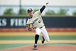 Wake Forest Demon Deacons starting pitcher Jared Shuster (41) delivers a pitch to the plate against the Virginia Cavaliers at David F. Couch Ballpark on May 19, 2018 in  Winston-Salem, North Carolina.  The Demon Deacons defeated the Cavaliers 18-12.  (Brian Westerholt/Four Seam Images)