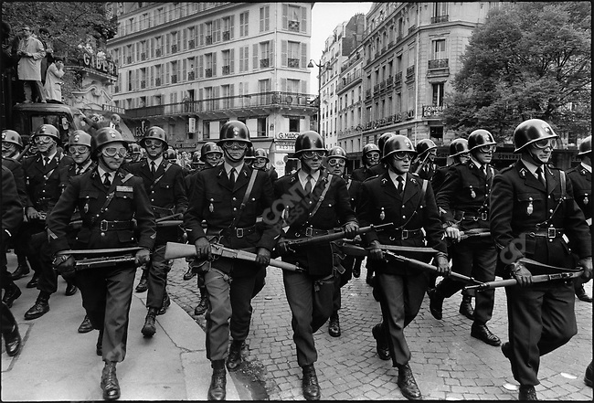 The 1968 May Events, riot police forces charging the students, Paris, France, May 6, 1968