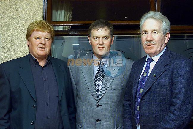 Seamus Smyth, Joe Boylan and Tony Davitt at St. Patrick's GFC Dinner dance in the Glenside Hotel..Picture: Paul Mohan/Newsfile