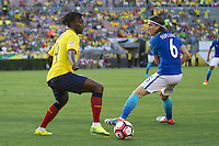 actionn photo during the match Brazil vs Ecuador, Corresponding Group -B- America Cup Centenary 2016, at Rose Bowl Stadium<br /> <br /> Foto de accion durante el partido Brasil vs Ecuador, Correspondiante al Grupo -B-  de la Copa America Centenario USA 2016 en el Estadio Rose Bowl, en la foto: (i-d) Juan Carlos Paredes de Ecuador y Filipe Luis de Brasil<br /> <br /> <br /> 04/06/2016/MEXSPORT/Victor Posadas.