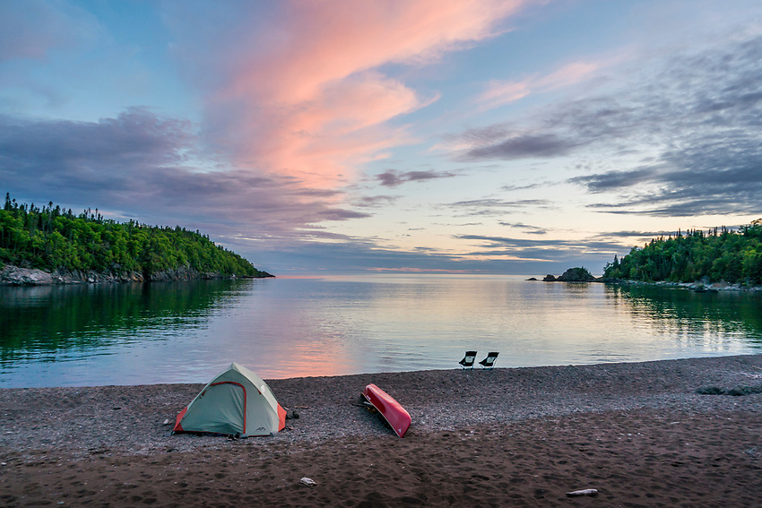 Canoeing Lake Superior's Slate Islands in Ontario, Canada.