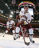 Jimmy Hayes (BC - 10), Brian Dumoulin (BC - 2) - The Boston College Eagles defeated the Harvard University Crimson 6-0 on Monday, February 1, 2010, in the first round of the 2010 Beanpot at the TD Garden in Boston, Massachusetts.