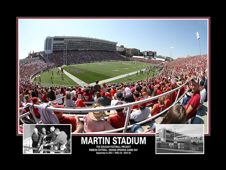 A fisheye view of Martin Stadium, the home of the Washington State Cougar football team, in a game against Eastern Washington that marked the grand opening of The Cougar Football Project, WSU's new premium seating and press box project.  The Cougars defeated the Eagles in the non-conference game, 24-20.