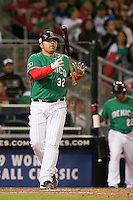 15 March 2009: #32 Rod Barajas of Mexico is dejected after being called out on strikes during the 2009 World Baseball Classic Pool 1 game 2 at Petco Park in San Diego, California, USA. Korea wins 8-2 over Mexico.