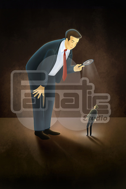 Illustrative image of tall businessman with magnifying glass looking at man representing recruitment