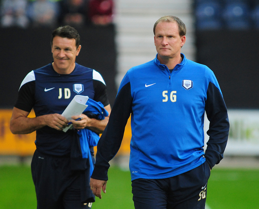 Preston North End&rsquo;s first team coach John Dreyer, left, and Preston North End manager Simon Grayson <br /> <br /> Photographer Chris Vaughan/CameraSport<br /> <br /> Johnstone's Paint Northern Area First Round - Preston North End v Shrewsbury Town - Tuesday 2nd September 2014 - Deepdale - Preston<br />  <br /> &copy; CameraSport - 43 Linden Ave. Countesthorpe. Leicester. England. LE8 5PG - Tel: +44 (0) 116 277 4147 - admin@camerasport.com - www.camerasport.com