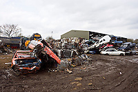 Scrap Cars at Breakers Yard UK..©shoutpictures.com..john@shoutpictures.com