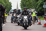 LONDON, ENGLAND, 22 May ,2014.  Bikers gather at Greenwich Park before travelling to Woolwich to mark the first anniversary of the murder of Fusilier Lee Rigby  near his Woolwich barracks.