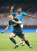 Calcio, Serie A: Napoli, stadio San Paolo, 21 ottobre 2017.<br /> Inter's Danilo D'Ambrosio (l) in action with Napoli's Lorenzo Insigne (r) during the Italian Serie A football match between Napoli and Inter at Napoli's San Paolo stadium, October 21, 2017.<br /> UPDATE IMAGES PRESS/Isabella Bonotto