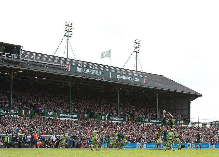 A general view of Welford Road, home of Leicester Tigers<br /> <br /> Photographer Stephen White/CameraSport<br /> <br /> Rugby Union - Aviva Premiership - Leicester Tigers v Northampton Saints - Saturday 16th May 2015 - Welford Road - Leicester<br /> <br /> &copy; CameraSport - 43 Linden Ave. Countesthorpe. Leicester. England. LE8 5PG - Tel: +44 (0) 116 277 4147 - admin@camerasport.com - www.camerasport.com