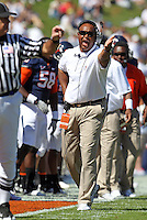 Oct 2, 2010; Charlottesville, VA, USA; Virginia head coach Mike London reacts to a call during the game against the Florida State Seminoles at Scott Stadium. Florida State won 34-14.  Mandatory Credit: Andrew Shurtleff-