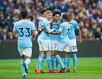 Manchester City players celebrating Leroy Sane  goal during the EPL - Premier League match between West Ham United and Manchester City at the Olympic Park, London, England on 29 April 2018. Photo by Andrew Aleksiejczuk / PRiME Media Images.