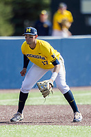 Michigan Wolverines third baseman Drew Lugbauer (17) on defense against the Illinois Fighting Illini during the NCAA baseball game on April 8, 2017 at Ray Fisher Stadium in Ann Arbor, Michigan. Michigan defeated Illinois 7-0. (Andrew Woolley/Four Seam Images)