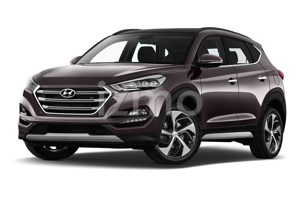 Stock pictures of low aggressive front three quarter view of a 2018 Hyundai Tucson Executive 5 Door SUV