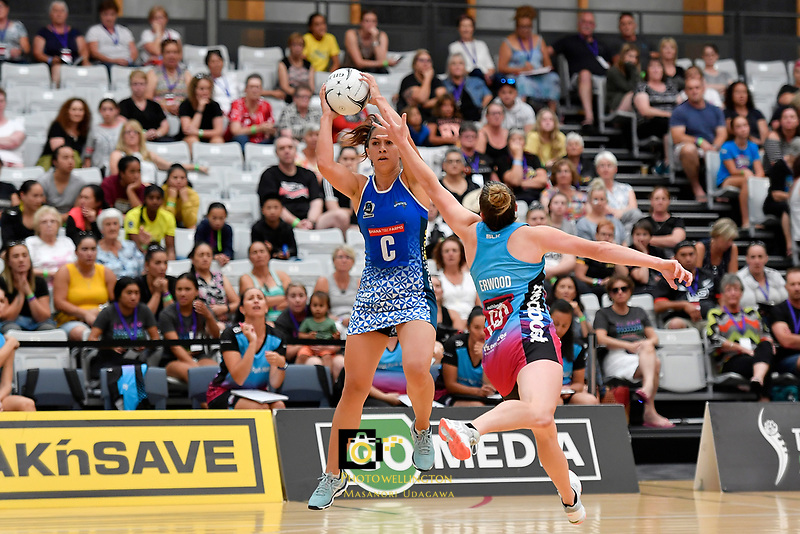 Mystics&rsquo; Emma Iversen in action during the Netball Pre Season Tournament - Mystics v Steel at Ngā Purapura, Otaki, New Zealand on Saturday 9 February  2019. <br /> Photo by Masanori Udagawa. <br /> www.photowellington.photoshelter.com