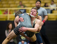 NWA Democrat-Gazette/JASON IVESTER<br /> Bentonville West's Stephen Fox wrestles against Bentonville's Obi Smith on Thursday, Jan. 26, 2017, at Bentonville High School.