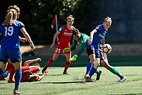 Seattle, WA - Saturday, August 26th, 2017: Adrianna Franch and Jess Fishlock during a regular season National Women's Soccer League (NWSL) match between the Seattle Reign FC and the Portland Thorns FC at Memorial Stadium.