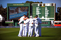 The Proteas huddle before the start of Day One of the first test between the New Zealand Black Caps and South Africa Proteas at Hawkins Basin Reserve in Wellington, New Zealand on Thursday, 16 March 2017. Photo: Dave Lintott / lintottphoto.co.nz