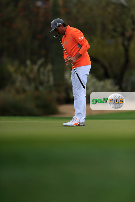 Rickie Fowler (USA) on the 2nd green during the final round of the Waste Management Phoenix Open, TPC Scottsdale, Scottsdale, Arisona, USA. 03/02/2019.<br /> Picture Fran Caffrey / Golffile.ie<br /> <br /> All photo usage must carry mandatory copyright credit (© Golffile | Fran Caffrey)