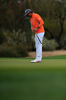 Rickie Fowler (USA) on the 2nd green during the final round of the Waste Management Phoenix Open, TPC Scottsdale, Scottsdale, Arisona, USA. 03/02/2019.<br /> Picture Fran Caffrey / Golffile.ie<br /> <br /> All photo usage must carry mandatory copyright credit (&copy; Golffile | Fran Caffrey)