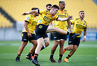 Jordie Barrett of the Hurricanes clears during the Super Rugby match between the Hurricanes and the Cell C Sharks at Sky Stadium in Wellington, New Zealand on Saturday, 15 February 2020. Photo: Steve Haag / stevehaagsports.com