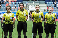 20190601 - LEUVEN , BELGIUM : Referees pictured during the female soccer game between the Belgian Red Flames and Thailand , a friendly game as a preparation for Thailand for the World Championship in France 2019, Saturday 1 th June 2019 at OHL Stadion Den Dreef in Leuven , Belgium. PHOTO SPORTPIX.BE | STIJN AUDOOREN