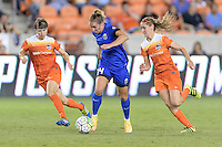 Houston, TX - Sunday Sept. 25, 2016: Rebecca Moros, Manon Melis, Morgan Brian during a regular season National Women's Soccer League (NWSL) match between the Houston Dash and the Seattle Reign FC at BBVA Compass Stadium.